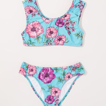 p.s. from Aéropostale Turquoise & Pink Floral Bikini - Girls