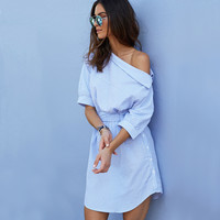 Fashion Stripe Oblique Shoulder Middle Sleeve Shirt Mini Dress