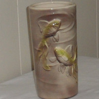 1950s ROYAL COPLEY KOI Fish Table Vase, Vintage Table Vase,Koi Fish in Relief Table Vase,Excellent Vintage Condition, 1950s Koi Fish Vase