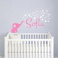 Name Wall Decal Elephant Wall Stickers Nursery Wall Decal Vinyl Decal Star Art Decor Ah202