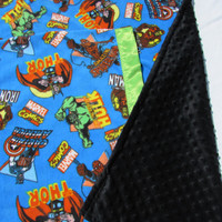 Free pillowcase! Marvel Comic minky fabric with reverse minky black dot blanket toddler, oversize toddler, and twin sizes