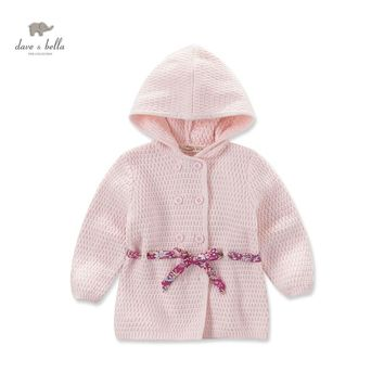 DB3710 dave bella autumn baby girls pink hooded sweater girls pink outerwear kid sweater cardigan