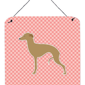 Italian Greyhound Checkerboard Pink Wall or Door Hanging Prints BB3614DS66