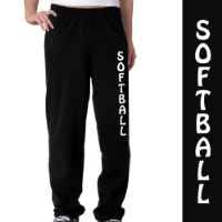 Softball Fleece Sweatpants Adult Small on Black