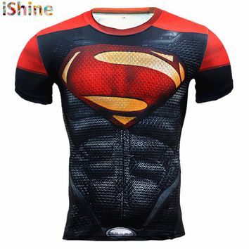 2017New Compression T Shirt Men Anime Superhero Skull Superman Fitness 3D Tshirt Bodybuilding Summer Crossfit Funny Bape T-shirt