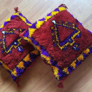 Set of 2 red Vintage Moroccan pillows cover wool handmade Free shipping!!!!