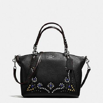 New Authentic Coach F59348 Leather Small Kelsey Satchel Studded Border Embellishment Black