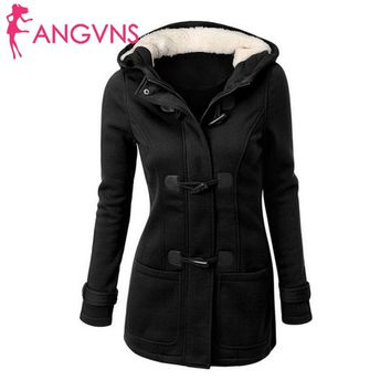 ANGVNS Lining Overcoat Coat Winter Women's Thick Horn Female Zipper Coat Long Trench Jacket Outwear Button Hooded