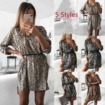 Women Autumn Summer Dress Sexy Leopard Snake Print Striped Long Sleeve V-neck Dress Ladies Casual Empire Mini Dresses Above Knee Length