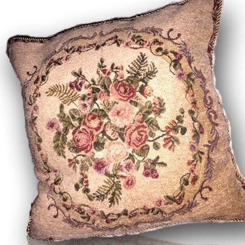 Tache 2 PC Chenille Woven Floral Red Spring Blossoms Throw Pillows