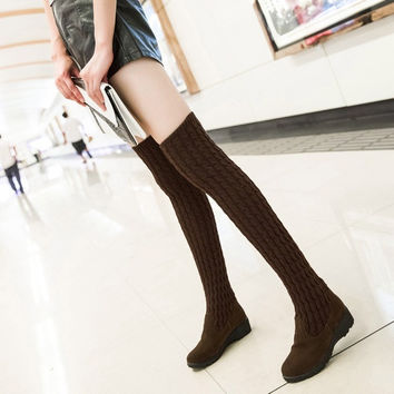 Fashion Autumn Winter Women'S Boots Wedges Over Knee Wool Boots = 1946562628