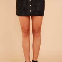 Fringe Cool Conduct Black Suede Skirt