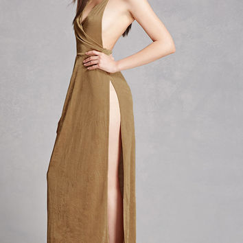 Metallic Halter Maxi Dress