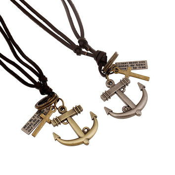 Vintage Genuine Leather Men Necklace Male Anchor Pendant Jewelry Chain For Men Collar Long Leather Cord Necklace