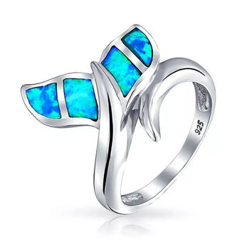 Mermaid Tail Blue Fire Opal Sterling Silver Ring