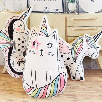 Macaron Color Unicorn Cat Hippocampus Plush Stuffed Pillow, Creative Unicorn Sofa Cushions, Baby Room Decorations