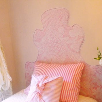 Headboard Wall Decal - Lace on Pink - TWIN Headboard Decal - Pink