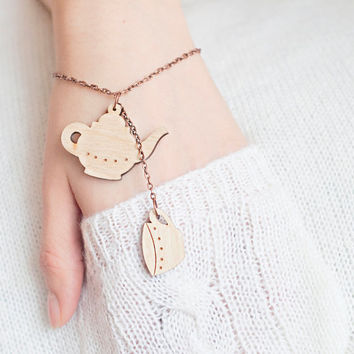 Cute bracelet with wooden teapot and cups (wood laser cut) on a copper chain