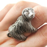 Large Three Toed Sloth Shaped Animal Wrap Ring in Silver | US Sizes 4 to 9