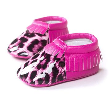 Baby Girls Pink Leopard Shoe With Tassels Newborn Non Slip