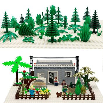 City Military Accessories Building Blocks MOC Weapon DIY Green Bush Flower Grass Tree Plants Toys Friends LegoINGlys City Bricks