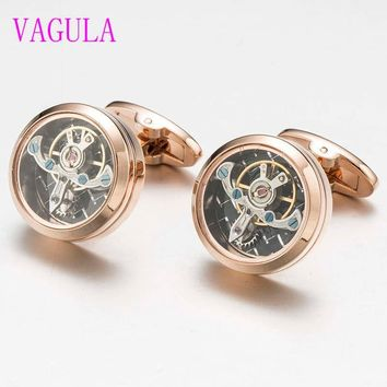 VAGULA 3colors High quality Movement Tourbillon Cuff links Designer Cufflinks Stylish Steampunk Gear Watch Cuffs