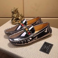 Men's Leather Loafers Shoes Mens Lacquer Surface Smooth silver Shoe