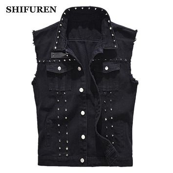 SHIFUREN Denim Vest Men's Punk Rock Style Rivet Cowboy Black Jeans Waistcoat Raw Edge Male Motorcycle Jacket Sleeveless Tanks