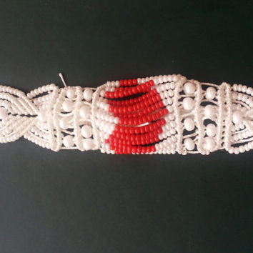 micro macrame bracelet red and white / FREE SHIPPING