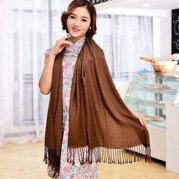 12 Color 2016 Autumn Hot Selling Women Pashmina Shawl Fringed Bufandas Solid Warm Knitted Blanket Scarf Winter 180*75cm Sf084