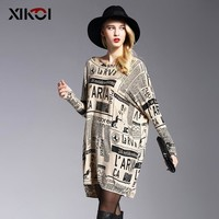 XIKOI 2017 New Oversized Sweater Woman Fashion Print Women Sweaters Slash Neck Pullovers Computer Knitted Spring Sweater Women