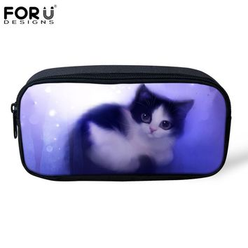 FORUDESIGNS Cute Animal Cat Printing Cosmetic Cases for Girls Boys Pencil Bags Children School Supplies Kids Students Pen Box