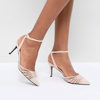 True Decadence Blush Embellished Pointed Mid Heeled Pumps at asos.com