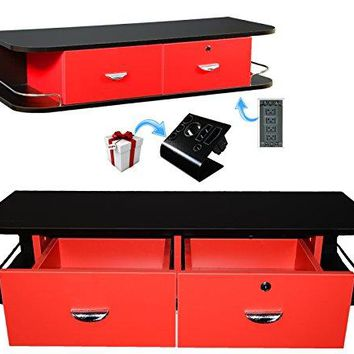 LCL Beauty Red Locking Wall Mount Styling Station with Black Metal Tabletop Appliance Holder & 4 Port Power Strip