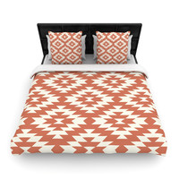"""Amanda Lane """"Navajo Toasted Coral"""" Red Tribal Woven Duvet Cover"""