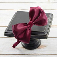 Satin bow on velvet headband. Elegant headbands for women, girls and toddler. Shop Your Final Touch for photo shot hair accessories. FREE Shipping
