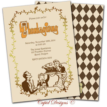 Thanksgiving invitation, vintage retro Thanksgiving invitation elegant printable, custom, diy