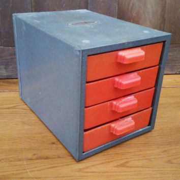 Vintage Industrial Metal Dunlap Small Parts Cabinet with Orange Plastic Drawers