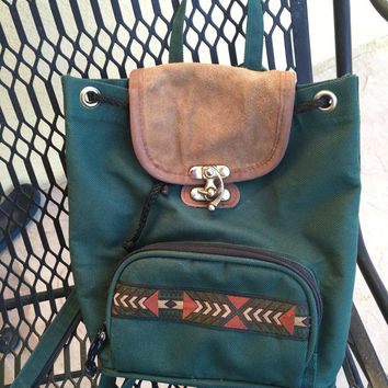 Aztec Backpack, Small Backpack, Small Green Backpack, Southwest Backpack, Tribal Backpack, Green Bag, Cloth Vegan Backpack, Hipster Bag