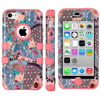iPhone 5C Case, ULAK 3 in 1 Shield Series Hybrid Patterned Case for Apple iPhone 5C with Soft Silicone Inner Case and Hard PC Outer Case Cover (SEEING SOUND+Coral Pink Silicone)