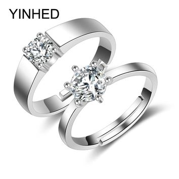 2pcs Couple Rings for Women and Men Solid 925 Sterling Silver Wedding Rings CZ Diamant Engagement Ring Sets for Lovers ZR221