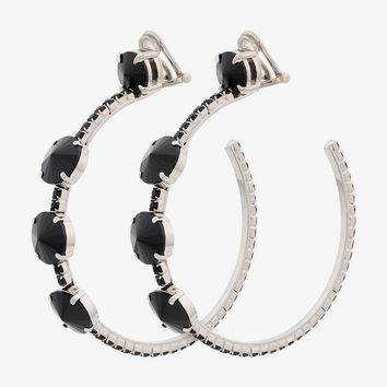 Black Crystal Oversize Hoop Earrings