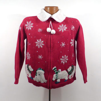 Ugly Christmas Sweater Vintage Cardigan Polar Bears Holiday Tacky Women's size M