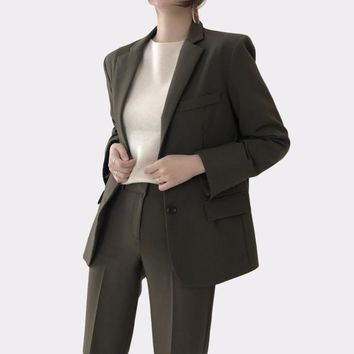 Korean Dark Green Office Lady Blazer Jacket Women Fashion Notched Collar Work Top Elegant Formal Uniform Outerwear Feminino