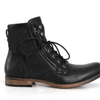 J75 Mens D-Day Mid Combat Boots in Black 66303M-361