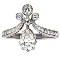 Platinum Tiara Engagement Ring set with a .71 carat Diamond