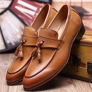 Men Casual Flat Tassels Slip-On Driver Dress Loafers-Multiple Colors