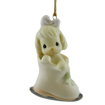Precious Moments WHEN THE SKATING'S RUFF TRY Porcelain Ornament Puppy 183903