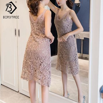 2018 spring sexy lace V-neck sling Woman Dresses elegant hollow out color block sleeveless slim female Dresses casual D82104C