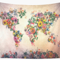 'world map floral 4' Wall Tapestry by BekimART